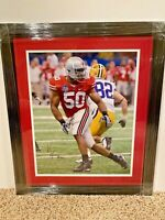 Vernon Gholston #50 signed Ohio State Buckeyes 16x20 FRAMED photo COA