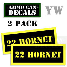 22 HORNET Ammo Can Box Decal Sticker Set bullet ARMY Gun safety Hunt 2 pack YW