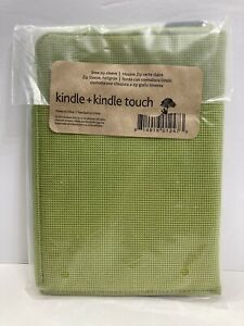 SEALED Kindle/Kindle Touch SLEEVE Pouch LIME w/Brown Soft Cover Zipper 5.25x7.5