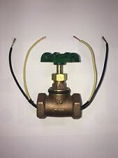 "Vintage Steampunk 3/4""Dark Green Handle Stop Valve Light Switch W/Wire Pass Thru"
