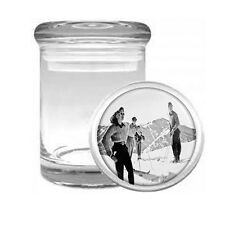 Vintage Skiing D14 ODORLESS AIR TIGHT MEDICAL GLASS JAR CONTAINER Winter Skier