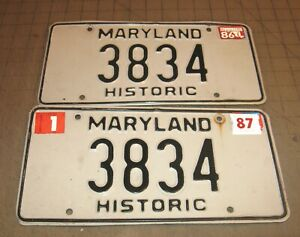 1987 Matching Pair of Maryland HISTORIC License Plates - 3834 - White w/Black