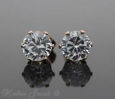 8MM ROUND SIMULATED DIAMOND 14K ROSE GOLD IP STUD MENS WOMENS GIRLS EARRINGS