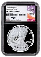 2020-S $1 1 OZ SILVER EAGLE NGC PF 70 UCAM FDI hand-signed signature of J.M.