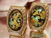 Hickock Signed Gold Foil Confetti Lucite Vintage 1950's Cuff Links NEAT-O 1014D4