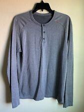 Lululemon Mens Metal Vent Tech Henley Grey Long Sleeve Shirt Size M
