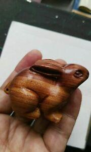Chinese Hand Carved boxwood netsuke rabbit