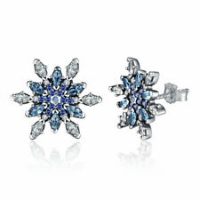 Women Girls Authentic 925 Sterling Silver Snowflake Blue Crystal Stud Earrings