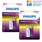2 PHILIPS LITHIUM ULTRA 9V BATTERY 6FR61 9V BLISTER 1BL EXP 2026 MAY NEW