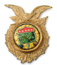 Modern Woodmen of America Badge Brass Eagle Setting Celluloid Button