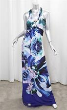 ROBERTO CAVALLI Womens Blue Floral Print Halter Stretch Full Lenght Dress L NEW