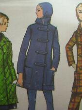 Vintage Simplicity 8451 CAR COAT w/ TOGGLE LOOPS & HOOD Sewing Pattern Women