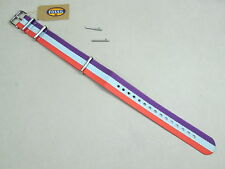 Fossil 18mm Zulu military weaved nylon watch band orange blue purple S181092