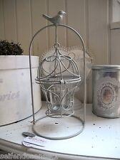 grau Laterne Käfig Vogelkäfig Kerzenhalter Teelicht Windlicht Shabby chic Metall