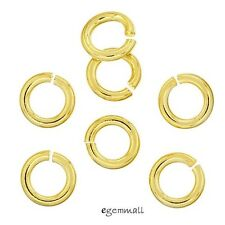 10x 22kt Gold Plated Sterling Silver Open Jump Ring 1.2x 6mm 17ga 17gauge #97768