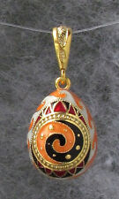 Egg Pendant,Multicolor Enamel,Trypillian Style,Swarovski Crystals,SS Gold Plated