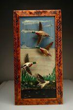 """Fine Quebec NB Folk Art Carving Wall Hanging """"Flying Ducks"""" by Luc Côté 13x26"""""""