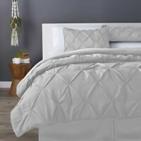 LUXURY PINTUCK DUVET COVER SET WITH PILLOWCASES 100% EGYPTIAN COTTON KING SIZE