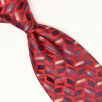 Josiah France Mens Silk Necktie Green Gray Polka Dot Check Weave Woven Tie Italy
