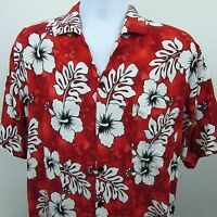 Island Style Mens Classic 80s Aloha Hawaiian Shirt Sz L Red Hibiscus Floral