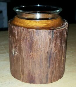 """Single Wood Log/Bark Candle Holder With Glass Votive Or For Accessories 3 1/4"""""""