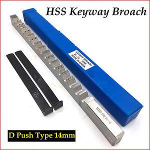 D Push Type 14mm Keyway Broach Cutting Tool HSS Metric Size CNC Metalworking