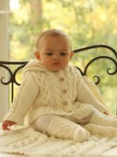 """BABIES CABLE HOODED JACKET~SOCKS~ BLANKET DK KNITTING PATTERN CHEST SIZE 18-30"""""""