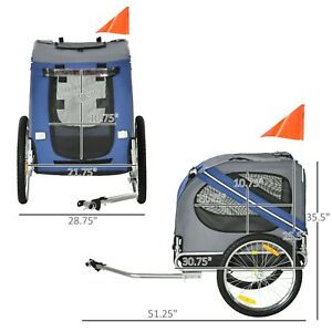 Fold Up Pet Bicycle Cargo Trailer for Dogs & Cats Steel Frame Oxford, Blue