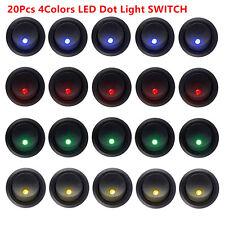 20XLED Dot Light 12V Car Boat Round Rocker ON/OFF TOGGLE SPST SWITCH 4 Colors