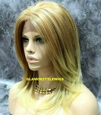 Human Hair Blend Hand Tied Monofilament Lace Front Full Wig Medium Blonde Mix