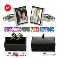PERSONALISED CUSTOM CUFFLINKS ANY PHOTO/LOGO PRINTED PAIR OF SQUARE CUFFLINKS