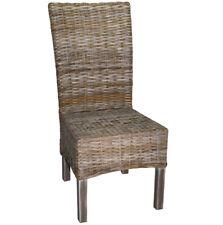 KMH® Esszimmerstuhl grau Stuhl Korbstuhl Rattanstuhl Geflechtstuhl Sessel Holz