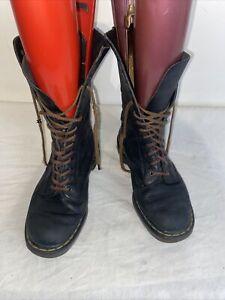 Dr Martens Leather Mid Calf Black Boots 14 Hole Uk 7 Damage Pls Read Description