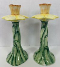 New ListingYellow Daffodil Flowers Candle Holders Made In Italy