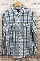 Inc International concepts western shirt mens XL pearl snap blue green plaid B1