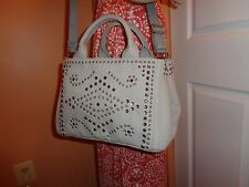 NWT PRADA DENIM NUBE (Light Grey) STUDDED RHINESTONE Tote Shoulder BN2439  NEW