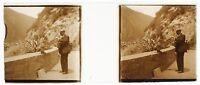 Uomo Guancia Con Un Orso Foto P4n10 Stereo Placca Da Lente Vintage