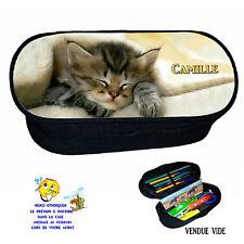 trousse à crayons chat chaton personnalisée avec prénom réf 222