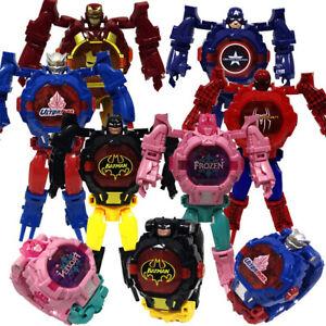 Marvel Superheroes Spider Man Batman Kid's Watch Robot Deformation  Gift Toy