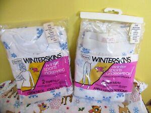 NIP Vintage Sears WINTERSKINS Winter Sports Long Underwear Snowflakes L
