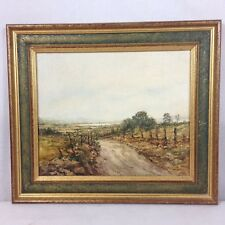 Edward Tomkus Country Road Oil On Canvas Board Dated 1980