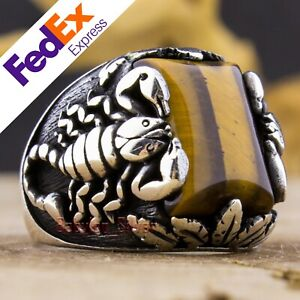 Natural Tiger's Eye Stone 925 Sterling Silver Scorpion Men's Ring All Sizes