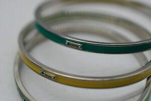 3 FOSSIL Enamel  Stainless Steel Costume Thin Bangle Bracelet A16