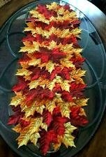 """Thanksgiving Fall Decor Table Runner Scattered Leaves Centerpiece 36""""x13"""""""