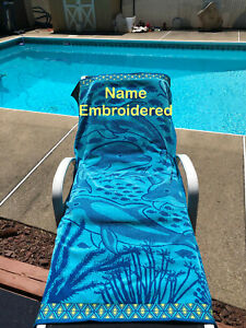 """Embroidery on Lg. 34""""X64"""" 100% Dolphin Beach Towel - Personalized - Monogrammed"""