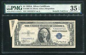 "FR. 1608 1935-A $1 SILVER CERTIFICATE ""BUTTERFLY FOLD ERROR"" PMG VF-35EPQ"