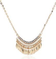 Fashion Women Gold Bib Crystal Rhinestone Long Chain Statement Necklace Pendant