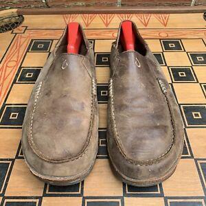 OluKai Moloa 11 M US 44 EU Slip On Shoes Brown Leather