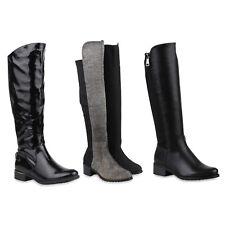 Warm Gefütterte Damen Reiterstiefel Zipper Leder-Optik Stiefel 812427 Schuhe