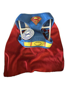 DC Comics Superman MED Padded Dog Harness w/Cape NEW-100% to No Kill Pet Shelter